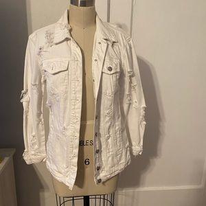 Distressed white denim jacket